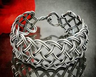 Sterling Bracelet Cuff, Woven Sterling Cuff Bracelet, Sterling Silver Bracelet Cuff, Statement Bracelet, Statement Cuff, Made to Order