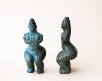 Abstract Woman Bronze Figurine, Metal Art Sculpture, Greek Statue Museum Quality Art Geometric Sculpture Minimalist Cycladic Art, Home Decor