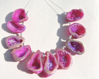 10 Pieces Extremely Beautiful Natural Sparkling Titanium Coated Pink Druzy Caves Beads Size 21X20-30X18 MM