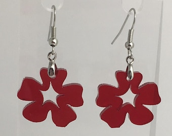 Small Flower red Earrings. Laser cut from acrylic. by Emily M A Parkin