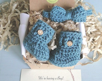 Baby Boy Reveal, Bow Tie and Booties in a Box® Set, Daddy Reveal, Pregnancy Reveal Idea, Grandparent Reveal,  Gift, Gender Reveal,