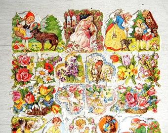 EAS German Die Cut Paper Scrap   Hearts   Nursery Rhyme   Floral Bouquets   Animals Instruments   Embossed Diecut Scrap   EAS 3014