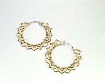 Brass Hoop Earrings - Mandala Earrings - Tribal Hoops - Statement Earrings - Yogi Jewelry (B194)
