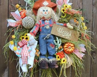 Scarecrow Wreath, Fall wreath, Halloween Wreath, Scarecrow, Autumn Wreath, Pumpkin Wreath, Floral wreath