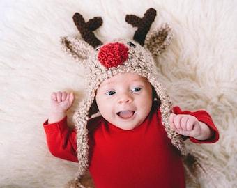 Crochet Reindeer Hat - Reindeer Newborn to Adult Sizes - Toddler Reindeer Hat - Child Deer Hat - Reindeer Hat - Deer Hat  -by JoJosBootique