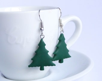 Minimalistic green Christmas tree dangle earrings simple cheap Christmas jewelry green trees Holidays