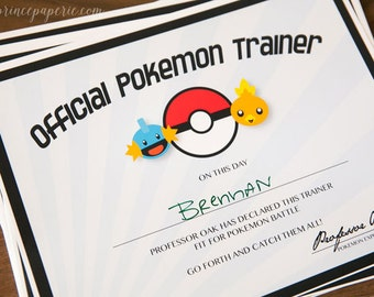 Pokemon Inspired Printable Trainer Certificate- INSTANT DOWNLOAD