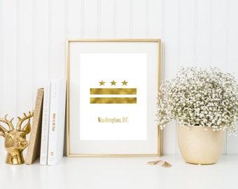 Washington DC flag gold foil print/ Washington DC logo/ state print/ washington art /washington dc art/ washington dc gold print