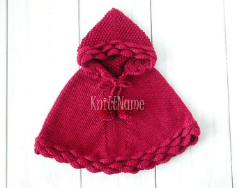 Hand Knit Baby Girl Poncho, Alpaca Crochet Hooded Cape, 3-6 Months Sweater, Ready To Ship