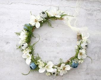 Dusty Blue White Flower Crown Floral Headband Baby Blue Headpiece Boho Hippie Floral Crown Rustic Headband Serenity Blue Bridal Crown