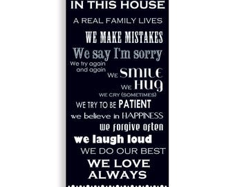 Family Rules In Our House, Family Rules Art, Family Art, Family Poster