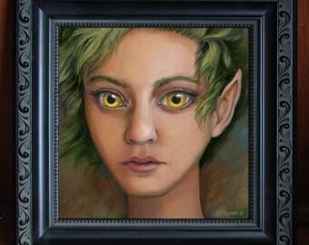 Owl Eyes - ORIGINAL Oil Painting on Board - Framed Fantasy Faerie Art