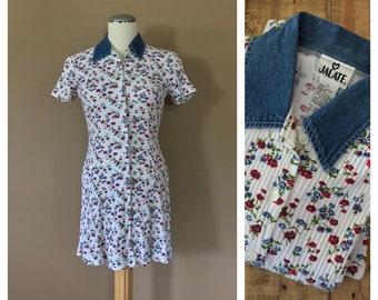 90s Minidress/90s Babydoll Dress/90s Dress Floral/90s Dress Goth/Floral Minidress/90s Denim Dress/90s Dress Grunge/90s Dress Vintage