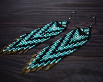 Turquoise Fringe Earrings, Seed Bead Earrings, Bead Tassel Earrings, Indian Earrings, Gypsy Earrings, Tribal Earrings Sead Beaded Earrings