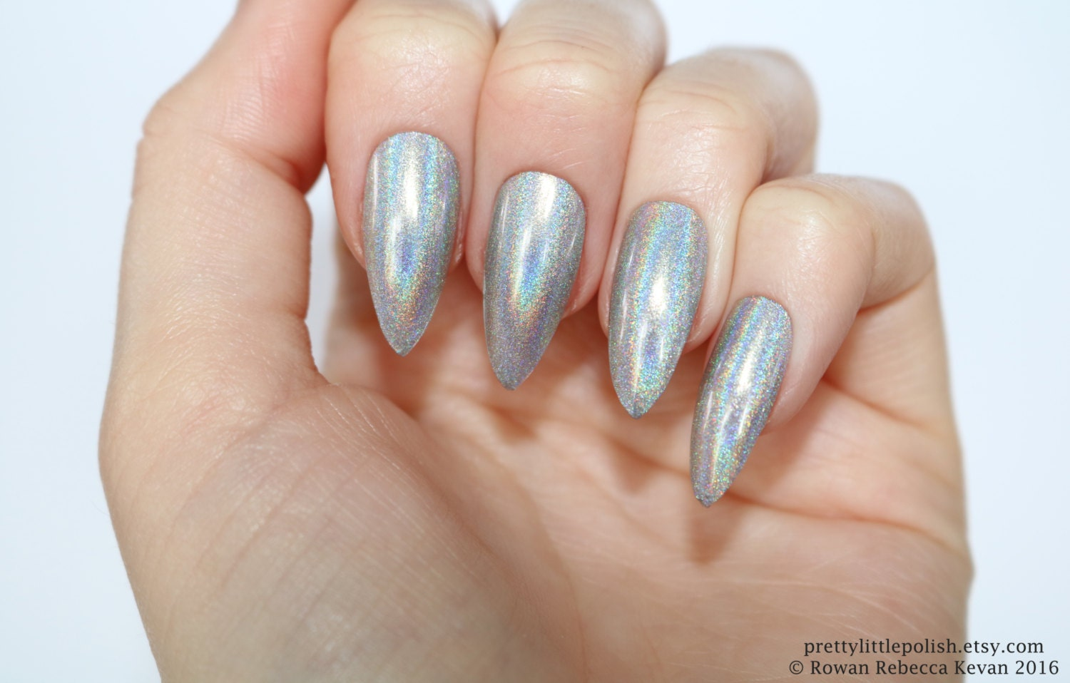 Holographic stiletto nails silver Holographic nails Fake