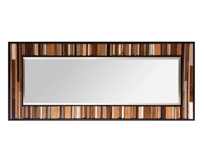 "Reclaimed Wood Mirror - 25x70"" - Leaner Mirror Floor Mirror - ""Natural Reflection""- Modern Wood Wall Art- Reclaimed Wood Art - Large Mirror"