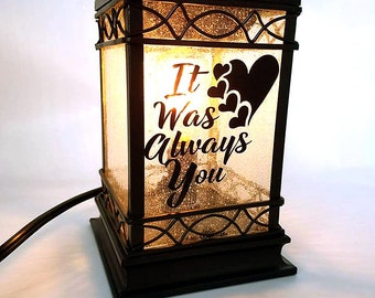 Lantern lamp - It was always you - wax warmer electric - Romantic gift for him - Lantern for weddings - Romance gifts - Pet memory