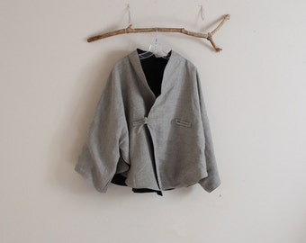 custom oversized reversible  linen cape coat / plus size jacket / winter linen jacket / free size coat / women jacket / women clothing /
