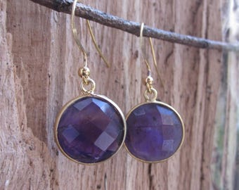 Amethyst drop earrings, Gold gemstone earrings, dangle earrings, amethyst jewellery, bridesmaid gift