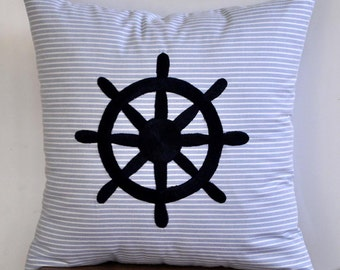 """Ship Wheel Decorative Pillow Cover -  Stripe Blue Cotton Embroidered Throw PIllow Cover 18"""" x 18"""" - Navy Blue Nautical Embroidery"""