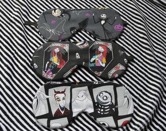 Sally Sleep Mask/ Jack and Sally Sleep mask/eye mask/Night mask/ light blocking eye mask/Oogie Boogie/ Tim burton/lock shock and barrel/Zero