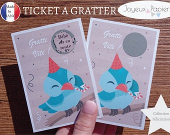 Scratch card original pregnancy announcement: baby is on the way bird tickets congratulation collection model