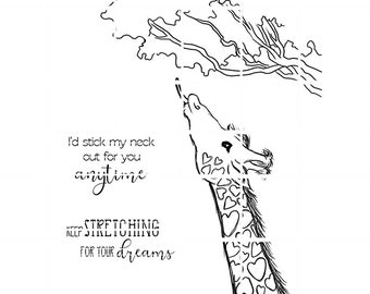 Giraffe with 2 sentiments digital stamp by Tierra Jackson