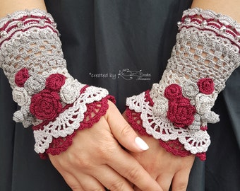 Crochet lace fingerless gloves, Crochet wrist warmers, Gray burgund gloves, Crochet gloves with flowers, Beaded crochet, Lace gloves