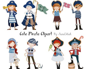 Pirate cute Clipart ,boy  clipart, girl clip art Instant Download PNG file - 300 dpi