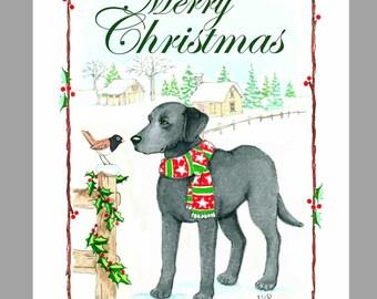 Labrador Retriever, Black, Christmas Cards,  Box of 16 Cards with 16 White Envelopes