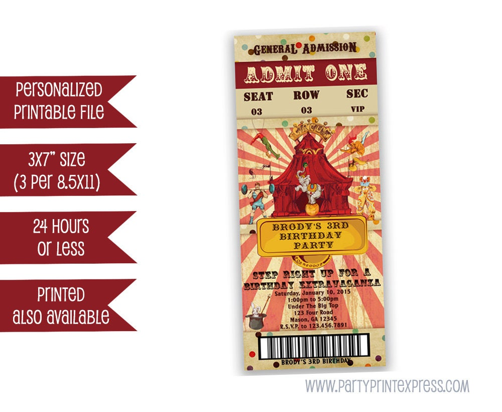 Druckbare Zirkus Einladung Ticket Party