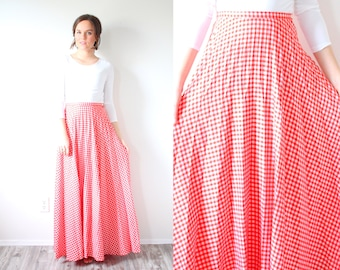 Gingham red maxi  skirt // checkered summer red skirt // vintage maxi long checkered skirt // maxi skirt // XSmall christmas skirt / small