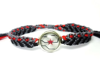 Winter soldier inspired Friendship Bracelets- Bucky Barnes, captain america, cabochon, seed beads