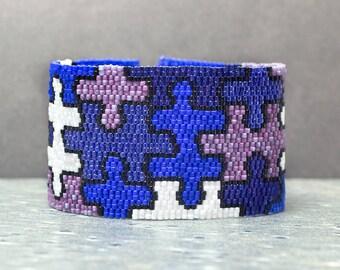 Cuff Bracelet, Puzzle, Purple, Bead Bracelet, Seed Beads, Peyote, Beaded Bracelet, Beadwork Jewelry