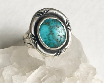 vintage southwestern sterling and turquoise ring, size 6.75, signed