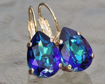 NEW Small Bermuda Blue Pear Teardrop Lever Back Earring,Blue Purple Rainbow,Rare Size,Gold Or Silver Drop,Bridal Bridesmaids Wedding,Blue
