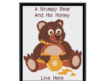 A Grumpy Bear and His Honey Live Here Cross Stitch Pattern