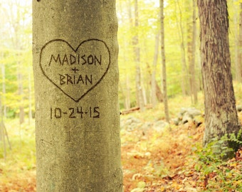 Personalized Tree Photo, Names Carved in Tree, Tree Art Print, Unique Wedding Gift, Custom Rustic Decor, Gift for Couple, Boyfriend Gift