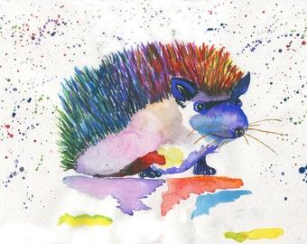 Watercolor Print / Abstract Print/ Hedgehog Painting / Watercolor Wall Art / Nature Print