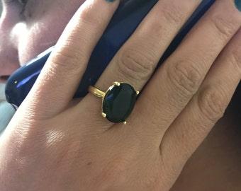 Crystal ring, Dark green ring, Gold filled ring, Adjustable ring