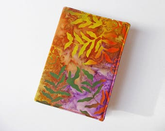 A6 'Batik' Notebook Cover, Fabric Book Jacket, Diary Cover, A6 Planner Cover, Removable Book Sleeve, Batik Dyed, Free UK Shipping, UK Seller