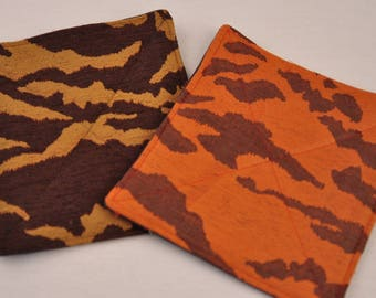 Eco Tiger Trivet Potholder Hot Pad Insulated Brown Orange Recycled Upcycled Fabrics
