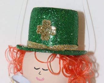 Leprechaun St Patricks Day  Ornament Recycle Champagne Cork Or Bottle Necklace Christmas