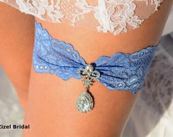 Wedding Garter Blue, Rhinestone Garter, Wedding Garter Lace, Blue Bridal Garter, Garter Blue, lingerie Garter, Something Blue, Garter Belt