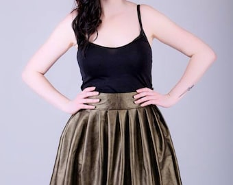 Gold faux leather pleated skater skirt