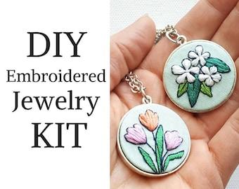 DIY Jewelry Kit - Hand Embroidered Flower Necklace - Beginner Needlecraft Starter Kit - Fine Silver Jewelry Kit - Necklace, Bracelet or both