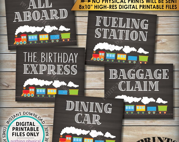 "Train Birthday Signs, Train Theme Birthday, All Aboard the Birthday Express Dining Car Fueling Station, PRINTABLE 8x10"" Instant Downloads"
