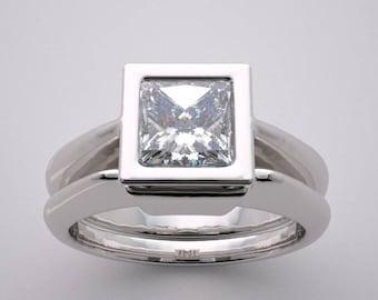 14K Square Engagement Ring Setting Set Contemporary Minimalist Design