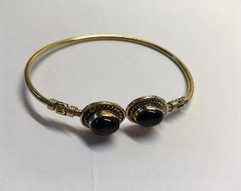 Onyx Brass Bracelet