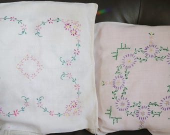two vintage hand embroidered cushion covers17x18 inches